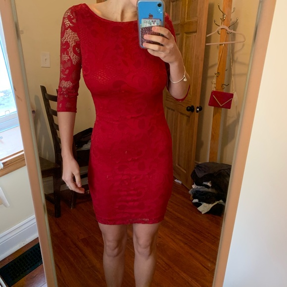 Mystic Dresses & Skirts - red lace bodycon dress
